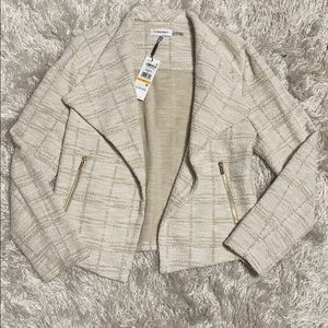 Calvin Klein Cream & Gold Open Sweater Moto Jacket